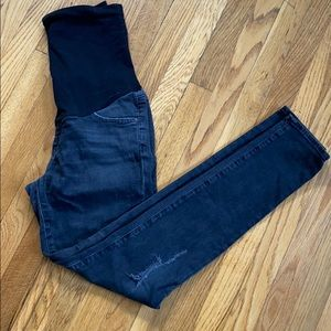 AG faded black distressed maternity jeans